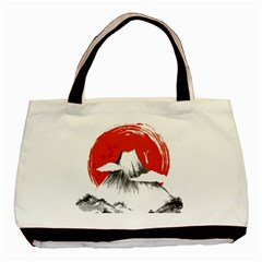 Mount Fuji Mountain Ink Wash Painting Basic Tote Bag by Vaneshart