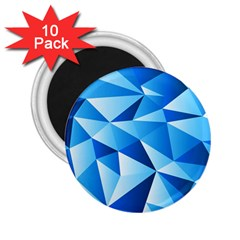 Triangles Abstract Blue 2 25  Magnets (10 Pack)  by Vaneshart