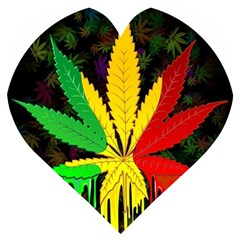Cannabis Leaf Color Wooden Puzzle Heart