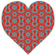 Seamless Geometric Pattern In A Red Wooden Puzzle Heart