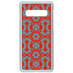Seamless Geometric Pattern In A Red Samsung Galaxy S10 Seamless Case(white)