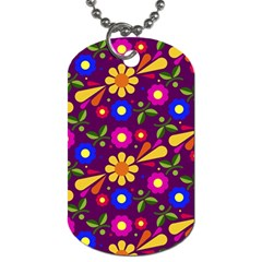 Flowers Patterns Multicolored Vector Dog Tag (one Side)