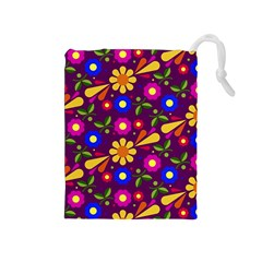 Flowers Patterns Multicolored Vector Drawstring Pouch (medium)