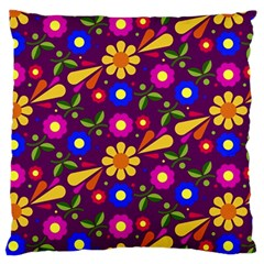 Flowers Patterns Multicolored Vector Standard Flano Cushion Case (one Side)