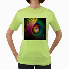 3d Abstract Fractal Bright Women s Green T Shirt