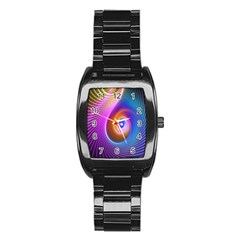 3d Abstract Fractal Bright Stainless Steel Barrel Watch