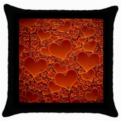 Heart Orange Texture Many Throw Pillow Case (black) by Vaneshart