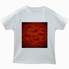 Heart Orange Texture Many Kids White T-shirts