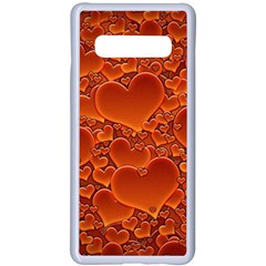 Heart Orange Texture Many Samsung Galaxy S10 Plus Seamless Case(white) by Vaneshart