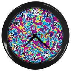 Ripple Motley Colorful Spots Abstract Wall Clock (black) by Vaneshart