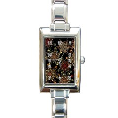 Patterns Abstract Flowers Rectangle Italian Charm Watch