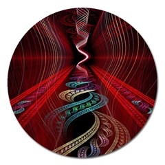 Patterns Red Abstract Magnet 5  (round)