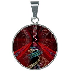 Patterns Red Abstract 25mm Round Necklace