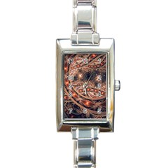 Fractal Patterns Abstract Dark Rectangle Italian Charm Watch
