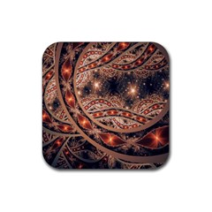 Fractal Patterns Abstract Dark Rubber Coaster (square)