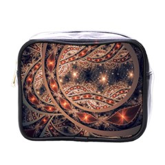 Fractal Patterns Abstract Dark Mini Toiletries Bag (one Side)
