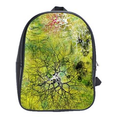 Abstract Spots Lines Green School Bag (xl)
