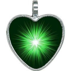 Green Blast Background Heart Necklace