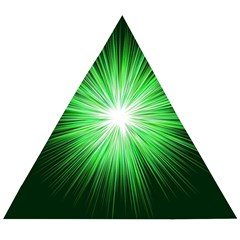 Green Blast Background Wooden Puzzle Triangle by Mariart