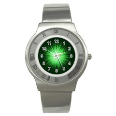 Green Blast Background Stainless Steel Watch by Mariart