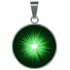 Green Blast Background 25mm Round Necklace by Mariart