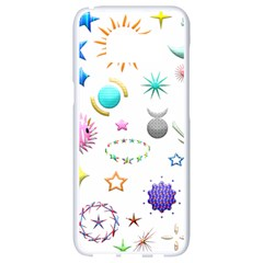 Shapes Stars Moon Sun Pattern Samsung Galaxy S8 White Seamless Case