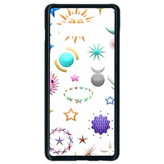 Shapes Stars Moon Sun Pattern Samsung Galaxy S10 Plus Seamless Case (black) by AnjaniArt