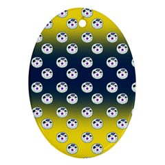 English Breakfast Yellow Pattern Blue Ombre Oval Ornament (two Sides)