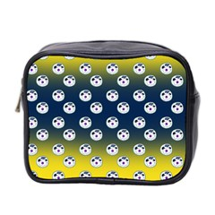 English Breakfast Yellow Pattern Blue Ombre Mini Toiletries Bag (two Sides)