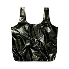 Metallic Silver Satin Full Print Recycle Bag (m) by retrotoomoderndesigns