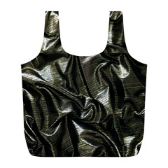Metallic Silver Satin Full Print Recycle Bag (l) by retrotoomoderndesigns