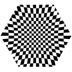 Illusion Checkerboard Black And White Pattern Wooden Puzzle Hexagon