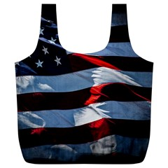 Grunge American Flag Full Print Recycle Bag (xl)