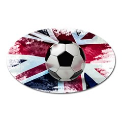 Soccer Ball With Great Britain Flag Oval Magnet by Vaneshart