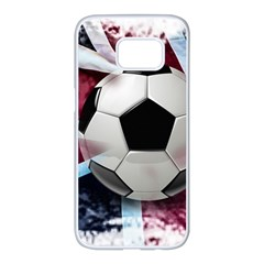 Soccer Ball With Great Britain Flag Samsung Galaxy S7 Edge White Seamless Case by Vaneshart