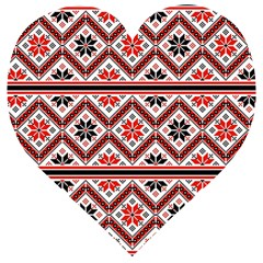 Folklore Ethnic Pattern Background Wooden Puzzle Heart
