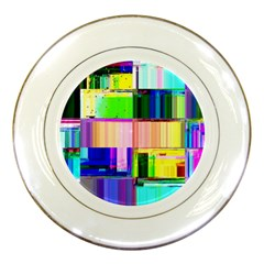Glitch Art Abstract Porcelain Plates by Vaneshart