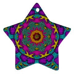 Fern  Mandala  In Strawberry Decorative Style Star Ornament (two Sides) by pepitasart