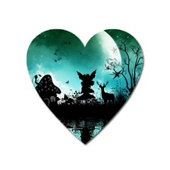 Litte Fairy With Deer In The Night Heart Magnet by FantasyWorld7