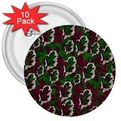 Green Fauna And Leaves In So Decorative Style 3  Buttons (10 Pack)  by pepitasart
