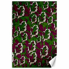 Green Fauna And Leaves In So Decorative Style Canvas 24  X 36  by pepitasart