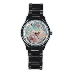 Tiles Shapes 2617112 960 720 Stainless Steel Round Watch by vintage2030