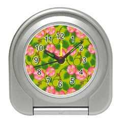 Roses Flowers Pattern Travel Alarm Clock by Vaneshart