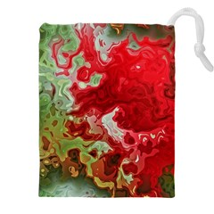 Abstract Stain Red Drawstring Pouch (xxxl) by Vaneshart