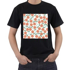 Vector Flower Floral Men s T Shirt (black) (two Sided)