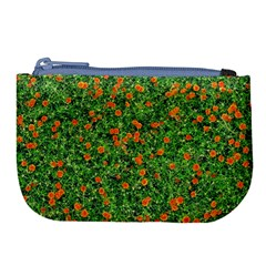 Carnations Flowers Seamless Large Coin Purse