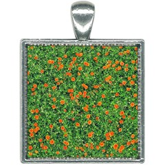 Carnations Flowers Seamless Square Necklace