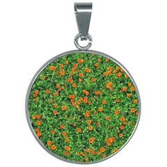 Carnations Flowers Seamless 30mm Round Necklace