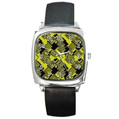 Seamless Pattern Background Square Metal Watch