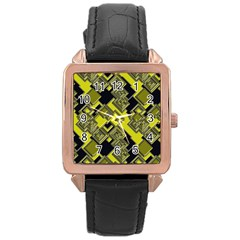 Seamless Pattern Background Rose Gold Leather Watch